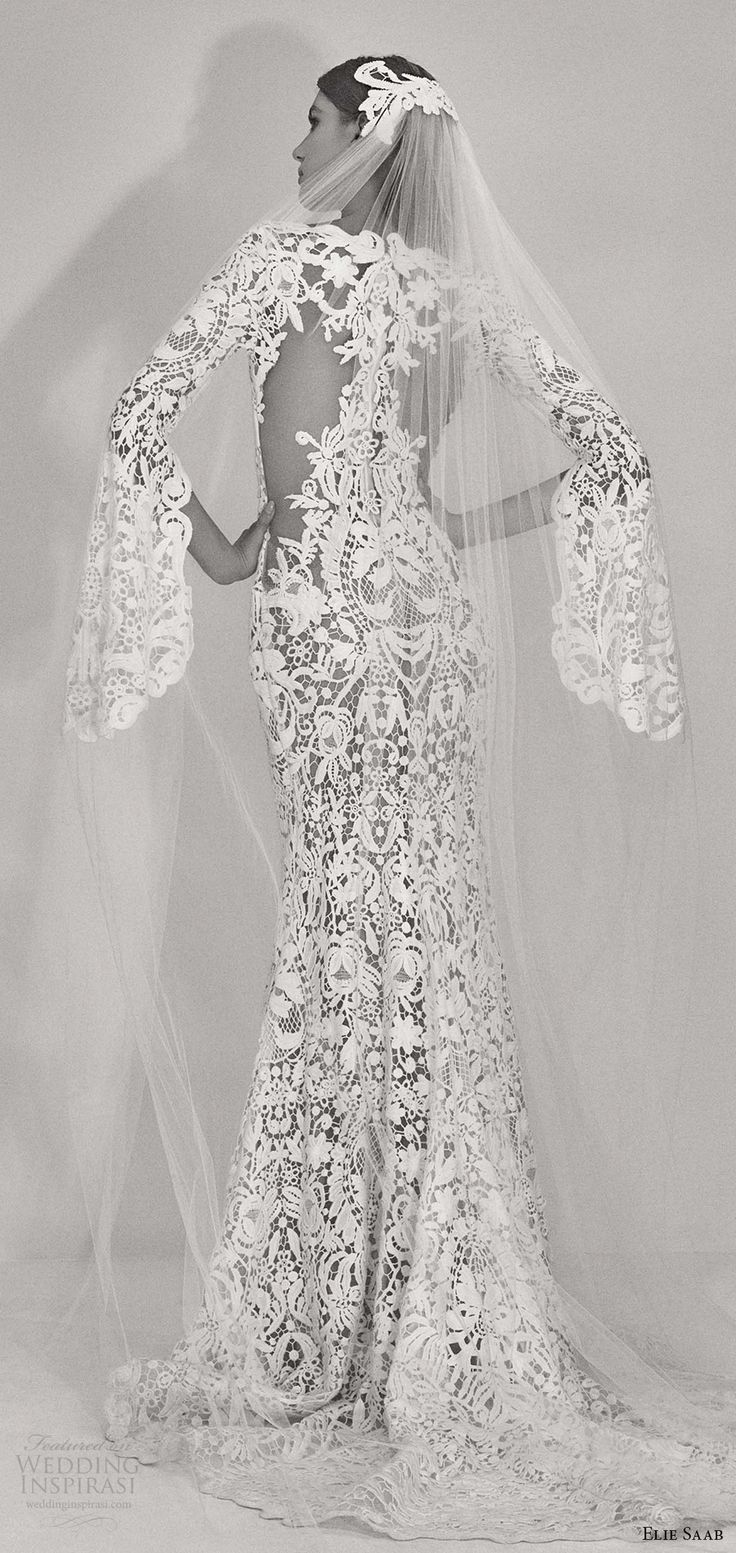 Elie Saab fall 2017 bridal (07) jewel neck split bell long sleeves lace trumpet wedding dress bv ililusion #wedding #bridal #trends