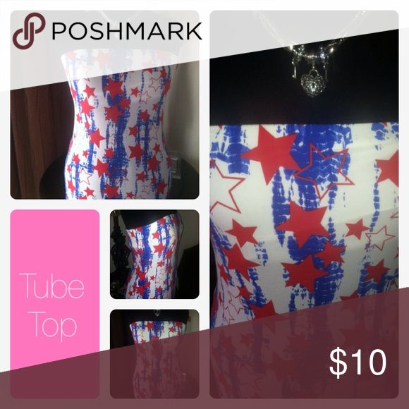 🆕 Listing🔥 Tube Top White tube top with red stars. This is a really cute top just in time for the 4th of July celebration. New never used. Tops