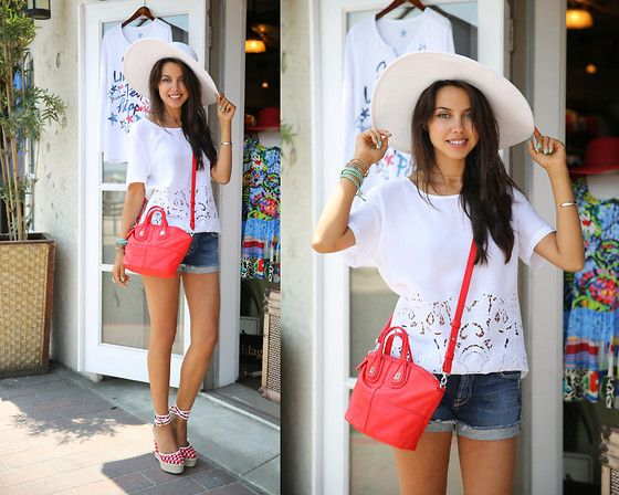 Givenchy Bag, Pierre Hardy Heels, 7 For All Mankind Shorts, Equipment Top