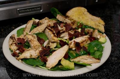 Grilled Lemon Garlic Chicken & Baby Spinach Salad with Lemon Dijon Vinaigrette