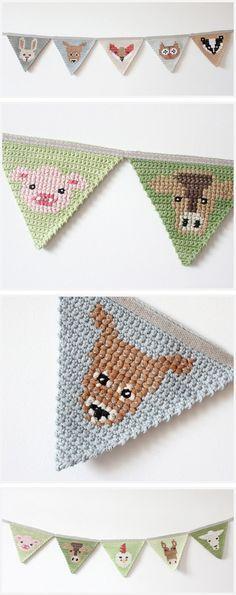 Resultado de imagen de banderines crochet animales