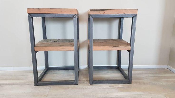 Industrieel nachtkastje staal en wagonhout firma hout for Ronde nachtkastjes