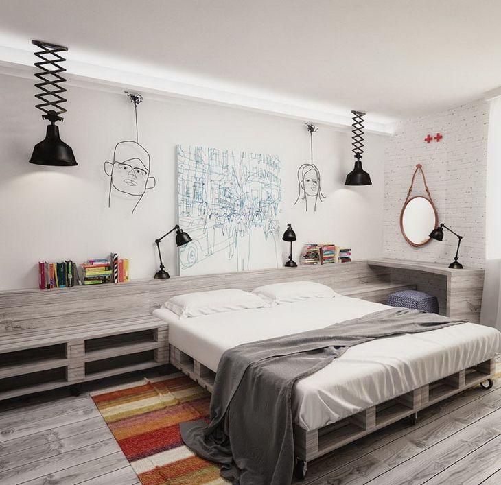 sypialnia w stylu industrialnym,projekt 3D sypialni,styl industrialny w sypialni,aranzacje sypialni w industrialnym stylu,beżowa sypialnia,drewno szaro-beżowe w aranżacji sypialni,plakat wg wzoru Marimekko na ścianie w sypialni,czarne lampy na krzyżakowym wysięgniku,industrialne czarne lampy,okragłe lustro,łożko z palet,meble z palet w aranżacji industrialnej sypialni,pomysł na sypialnię w industrialnym stylu,dywan w pomaranczowo-białe paski,czarne lampki nocne,jak urzadzić sypialnię z…