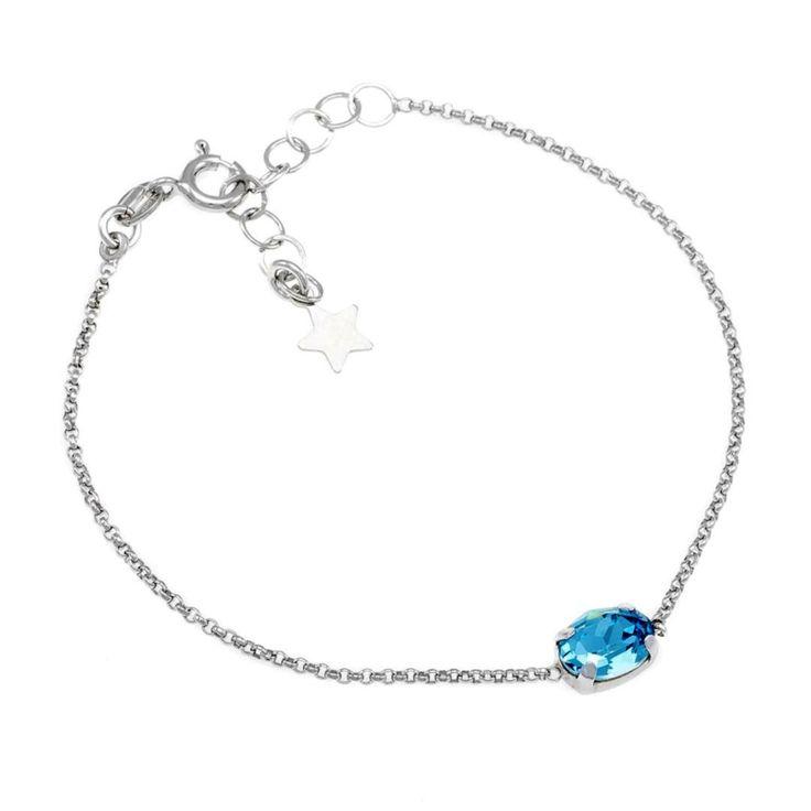 Zilveren Armbad petite met ovaal Kristal blauw