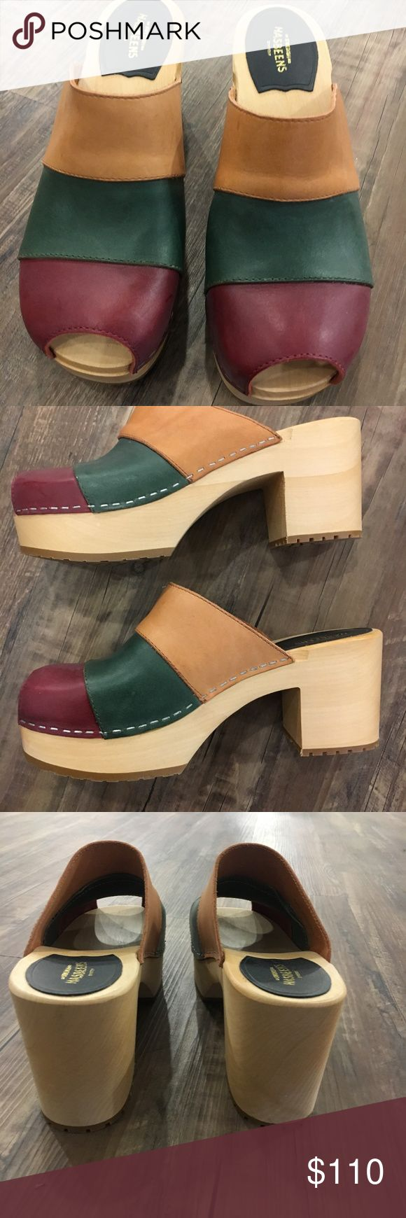 Swedish Hasbeen Color Combo Slip In Heel is 9.5 cm high (3.7 inches) Lime-tree wooden heel with rubber sole Italian natural grain leather, chrome free Swedish Hasbeens Shoes