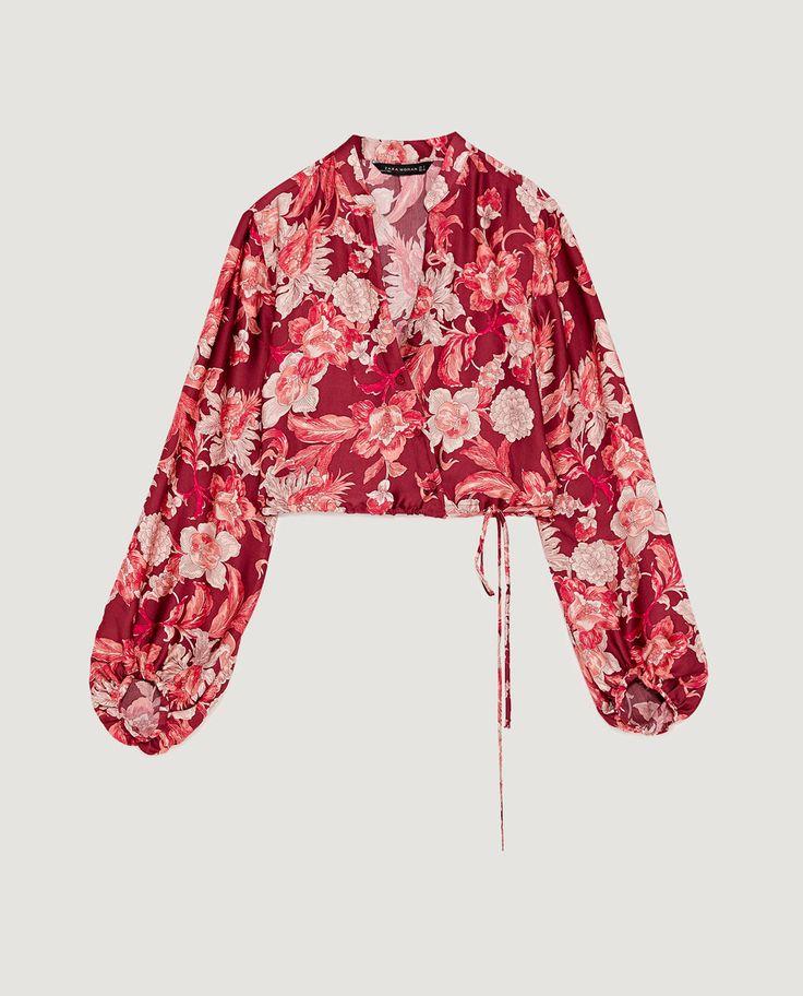 Afbeelding 8 van BLOUSE MET PRINT EN WIJDE MOUWEN van Zara