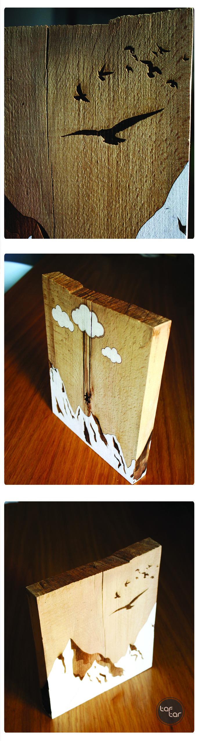 / Laser engraved and hand-painted   piece of wood. //  / Κομμάτι ξύλου χαραγμένο σε laser και βαμμένο στο χέρι. //