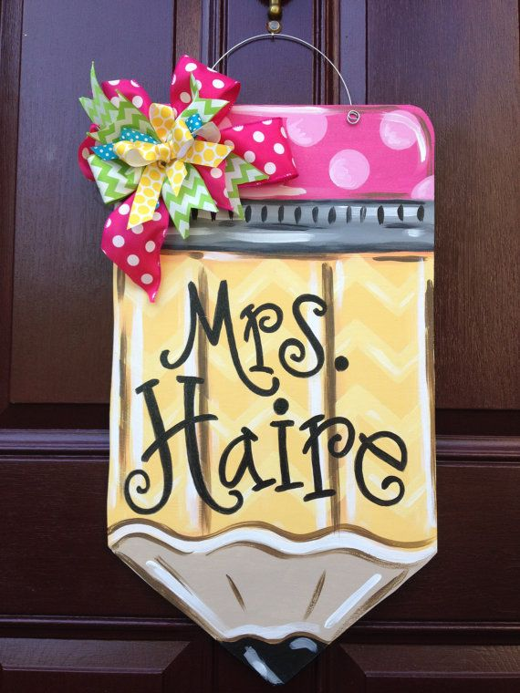 Pencil Door Hanger/Teacher Door Hanger/Back by TheGildedPolkaDot