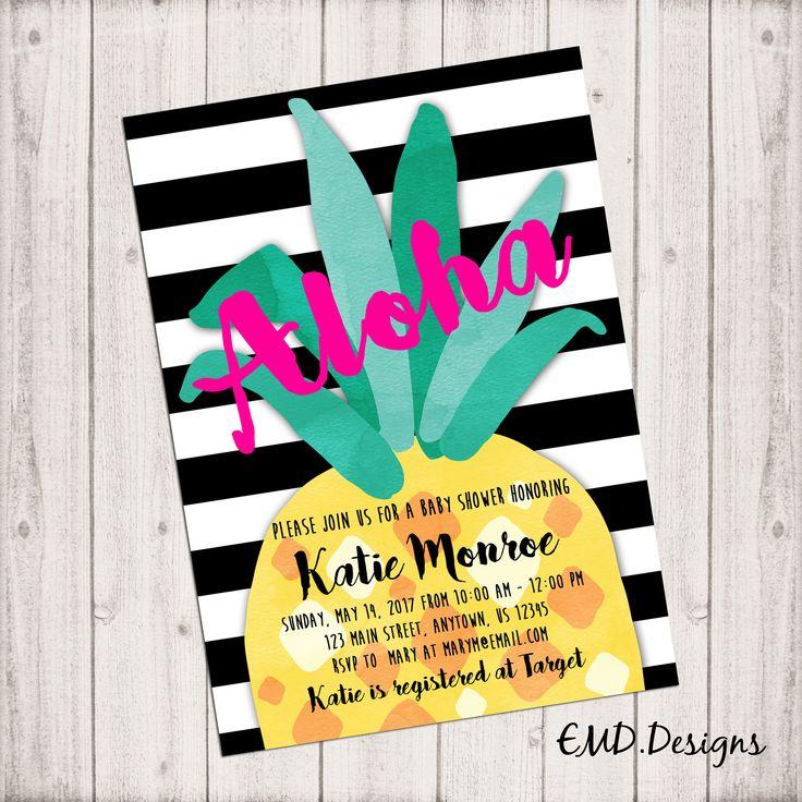 Aloha Tropical Pineapple Luau Baby Shower Girl Invitation PRINTABLE ,  Custom DIY Digital Printable By EMDigitalDesigns