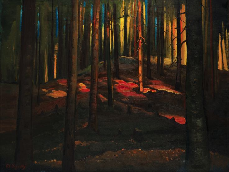 Otakar Nejedlý (Czech, 1883-1957), Lesní zátiší [Forest retreat]. Oil on canvas, 70 x 90 cm.