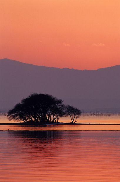 Winter sunset in Lake Biwa, Shiga, Japan