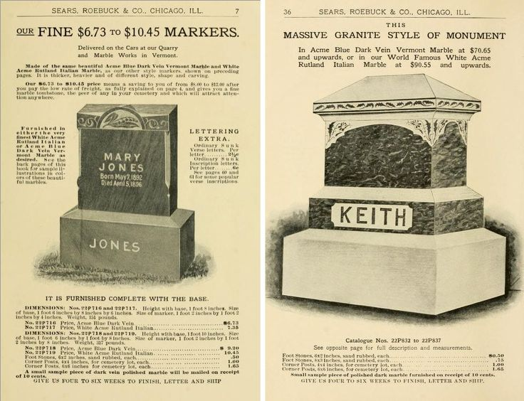 Tombstone prices in early 1900s