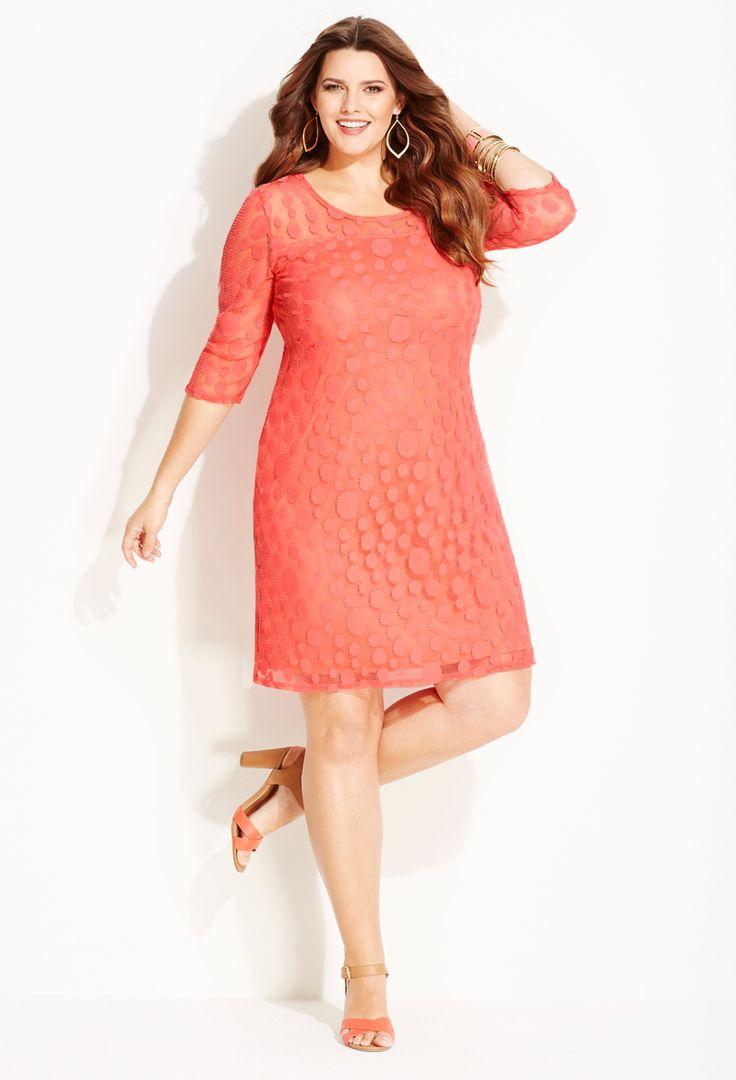 Plus Size Textured Dot Dress | Avenue
