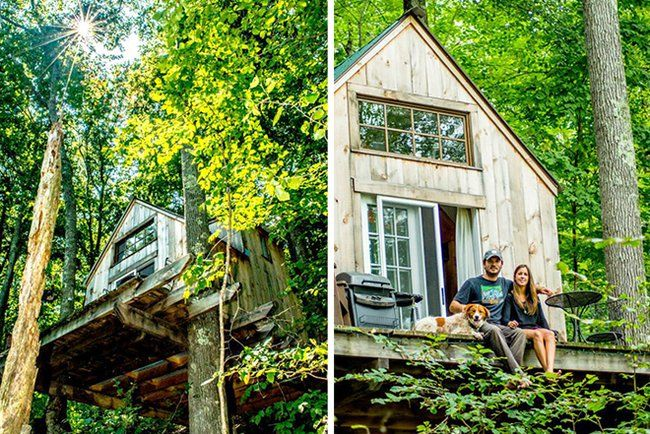 Amazingly, Herrle was able to construct this tiny cabin of 11 by 14 feet in the woods for only $4,000 and in only six short weeks.