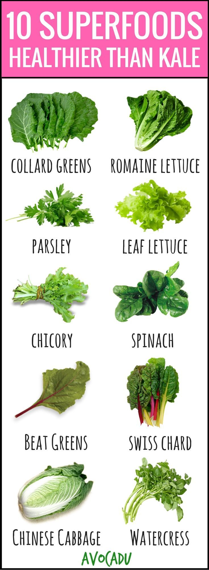 These healthy foods are surprisingly healthier than the almighty superfood that is kale! Lose weight fast by adding these to your diet today! http://avocadu.com/10-superfoods-healthier-than-kale/