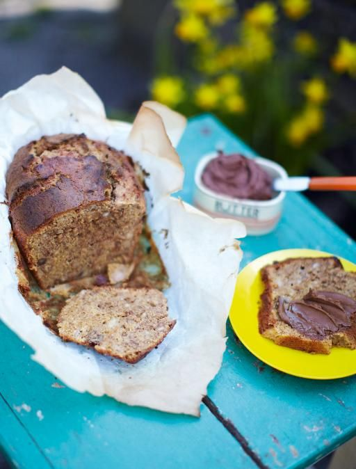 Walnut & banana loaf | Jamie Oliver | Food | Jamie Oliver (UK)- can replace butter for yogurt.