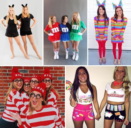 """Easy"" DIY Big/Little Costume Ideas!! A list of simple costumes to make from tee shirts, accessories and things you have in your closet! <3 BLOG LINK: http://sororitysugar.tumblr.com/post/140156623894/hi-my-big-and-i-have-to-dress-up-for-a-biglittle#notes"