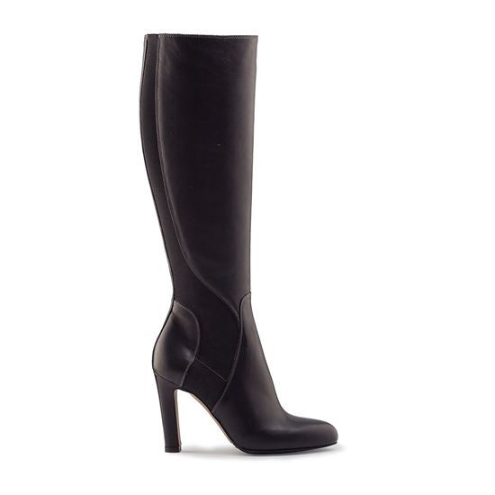 leather boots, boots winter, pumps, calf leather, leather lining, sole gomma tunith, 95mm heel boots Vitello 4120 NERO