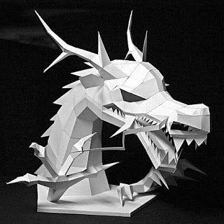 Papercraft Asian Dragon Head