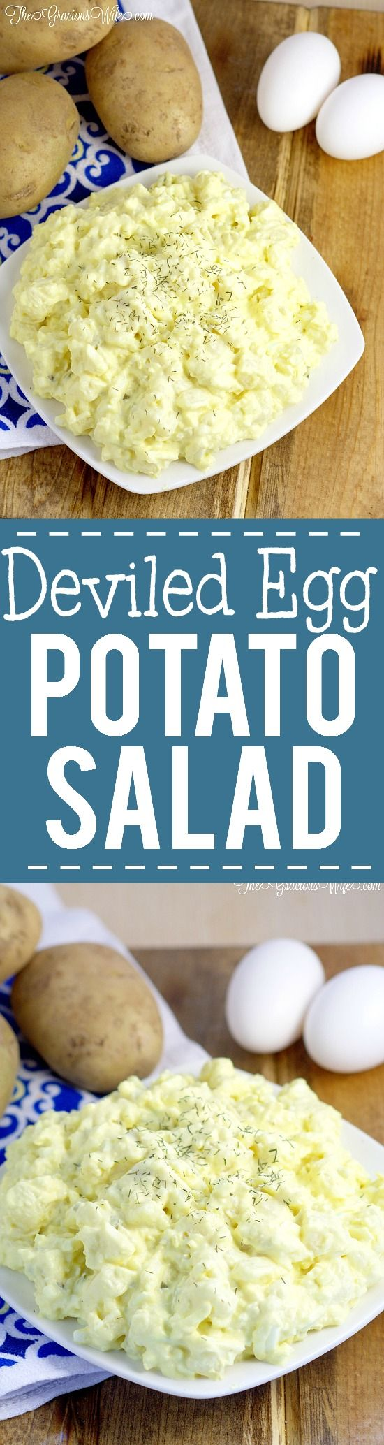 Deviled Egg Potato Salad Recipe - Easy potato salad recipe inspired by deviled eggs. Perfect side dish potato salad for barbecues, picnics, and cookouts.