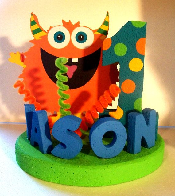 Cute MONSTER 3D Custom Cake Topper PERSONALIZED Centerpiece on Etsy, $39.00
