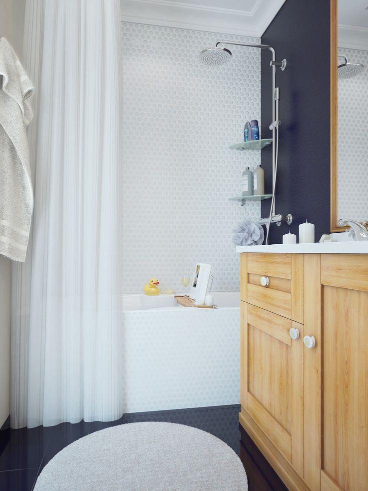 Blog wnętrzarski - design, nowoczesne projekty wnętrz: Małe jasne mieszkanie z białą kuchnią w stylu rustykalnym - blog wnętrze design