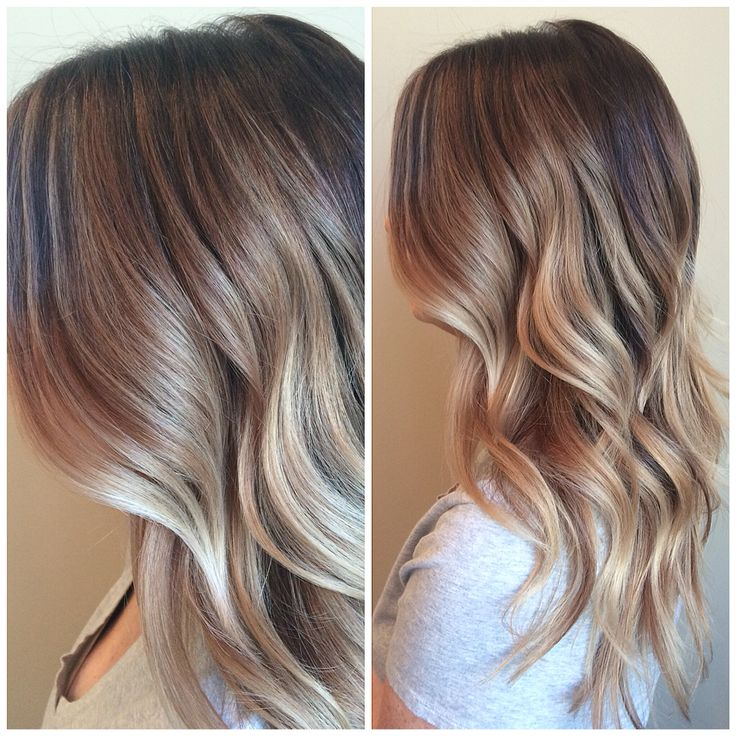 Balayage highlights brown blonde melt waves ombré beachy beige blonde honey caramel style