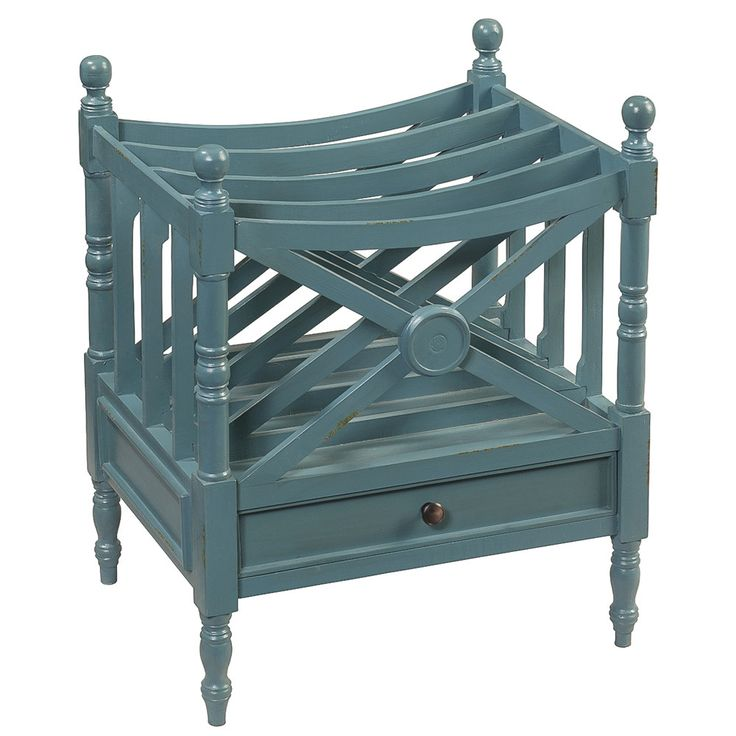 Amelia Magazine Rack Teal Wrightwood Furniture Colonial