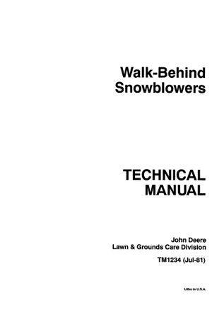 John Deere 526 1032 Walk Behind Snow Blower Repair Technical