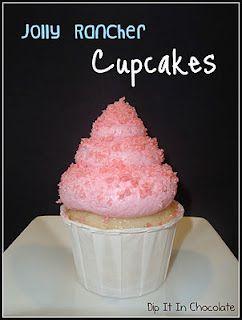 Watermelon Jolly Rancher Cupcakes