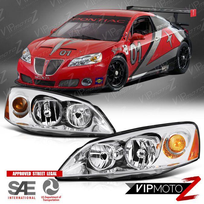 2005-2010 Pontiac G6 GT GTP GXP Crystal Chrome New Headlight Assembly LEFT+RIGHT #VIPMOTOZ