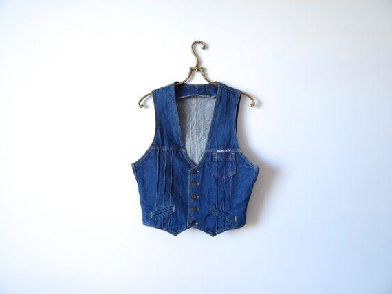 Blau Denim Weste Damen Weste Metall Buttons von KukkaRamba auf Etsy