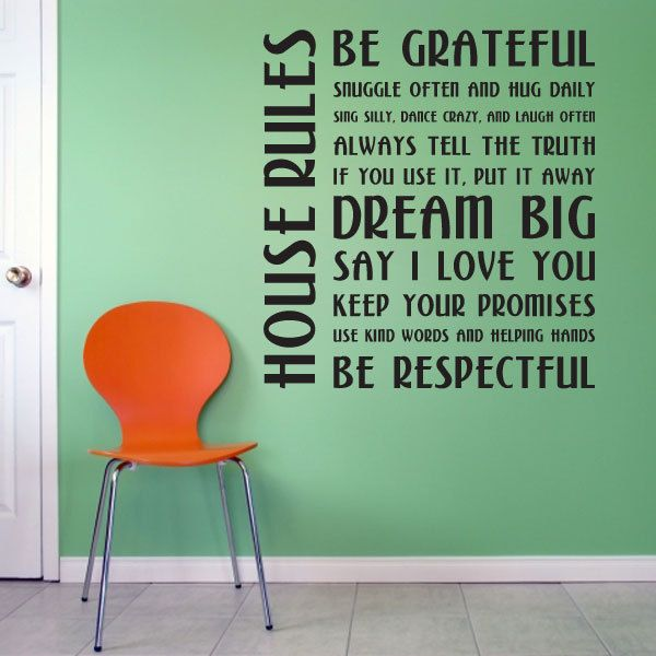 House Rules Wall Quote Decal