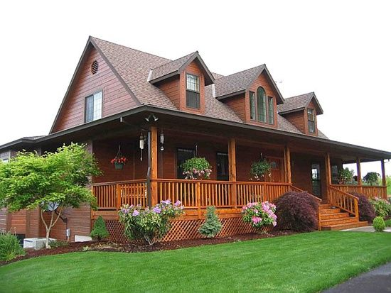 167 best images about one story ranch farmhouses with wrap for Full wrap around porch log homes