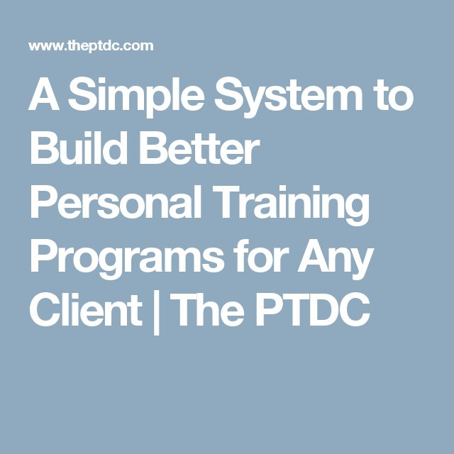 Personal Training: Personal Training Programs
