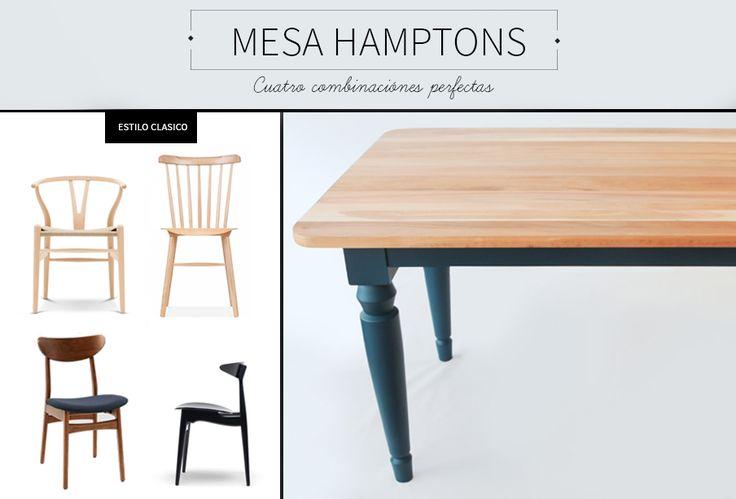 Comedor hamptons combinaciones con sillas <3