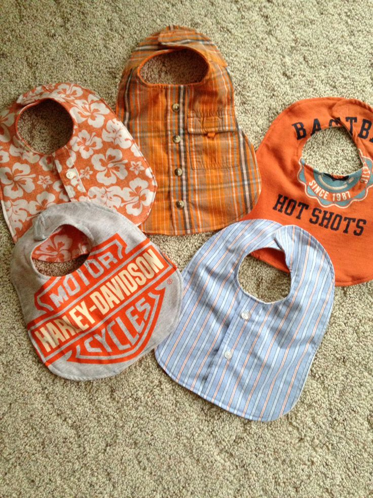 Bibs made from men's shirts. Great idea to use clothes from someone who has passed.