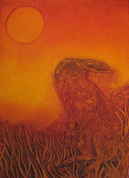 """""""The Sitter Still"""" by Hester Cox (collagraph)"""