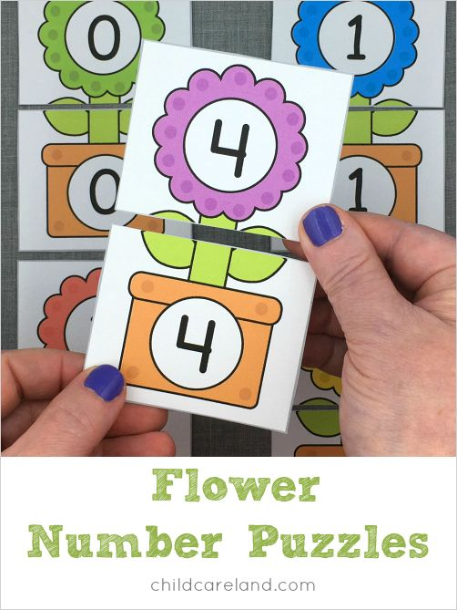 Flower number puzzles for number recognition and review.