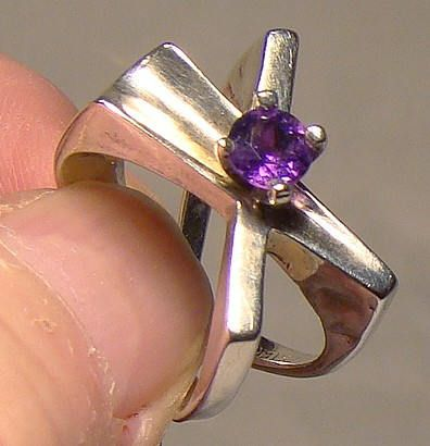C. Noir Ultra Modern Studio Amethyst Sterling Ring  Size