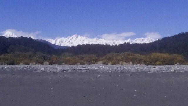 Mt Cook & Mt Tasman from Okarito Beach