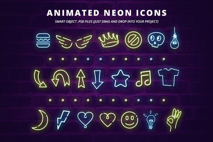 Neon Social Media Kit + Bonus | #icons #animation