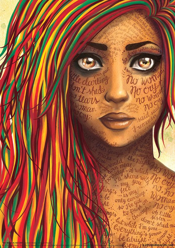 No Woman No Cry Bob Marley Reggae Lyrics Poster por DrawMeASong