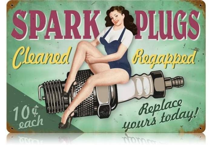 Vintage and Retro Wall Decor - JackandFriends.com - Retro Spark Plugs Pin Up  - Pin-Up Girl Metal Sign, $39.97 (http://www.jackandfriends.com/vintage-spark-plugs-pin-up-metal-sign/)