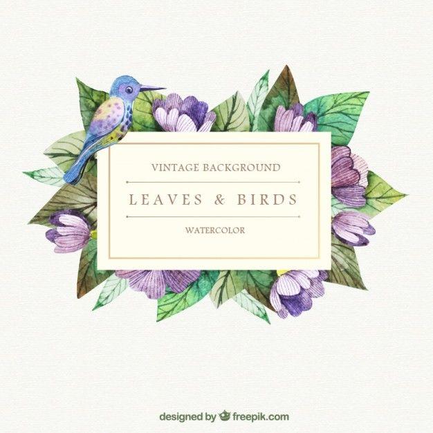 Pintados à mão folhas e de aves de fundo Vetor grátis