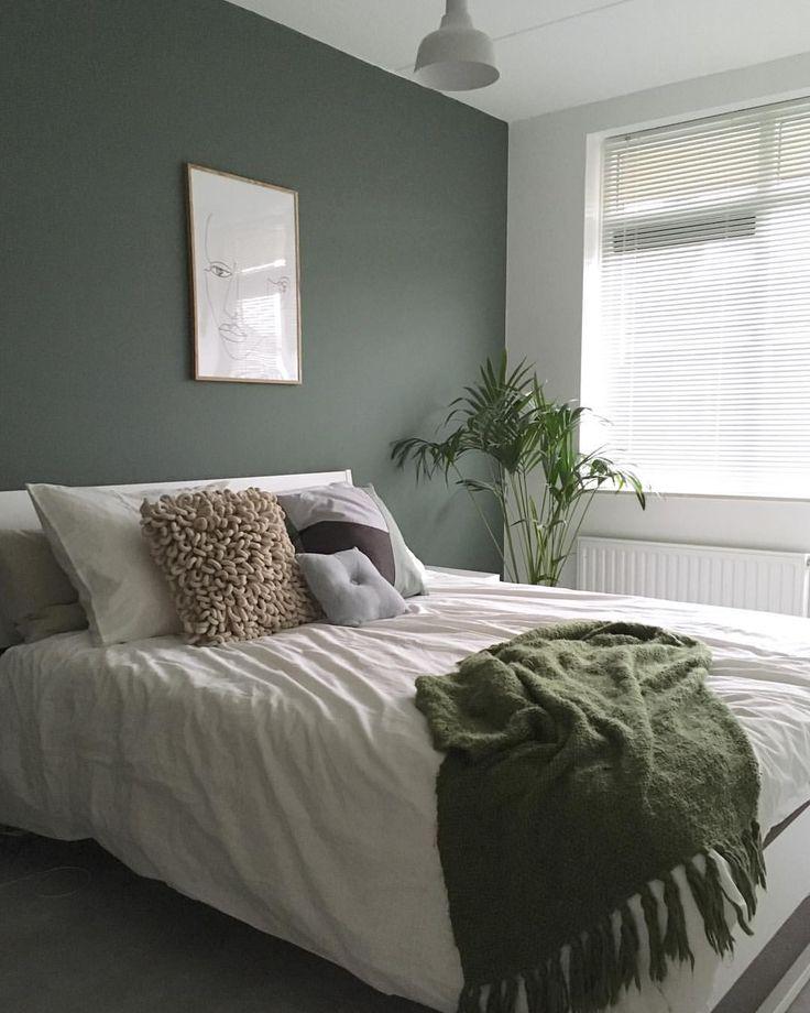 Love this green bedroom by @zusinterieur   wallcolor is from Farrowandball 'green smoke' no. 47