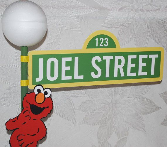 Sesame Street Sign with Lamppost and Elmo by AuntJJsAttic on Etsy