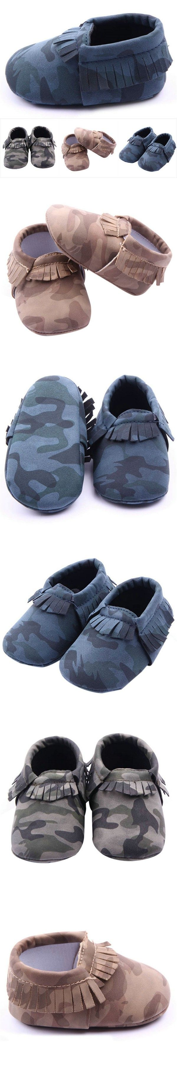 Infant Girls Boys Camo Baby Shoes Toddler Tassel Soft Slippers Shoes 0-12M