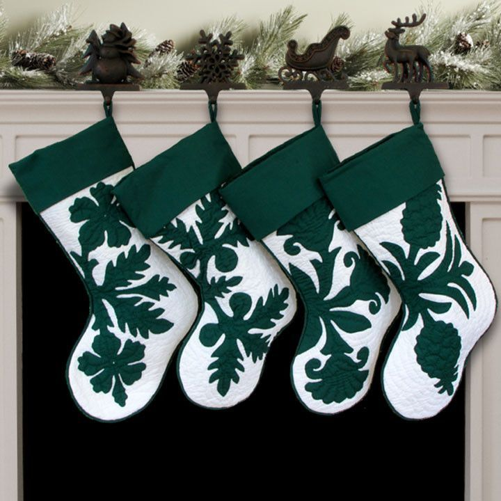 Hand Quilted Hawaiian Christmas Stockings - Black Pearl Designs