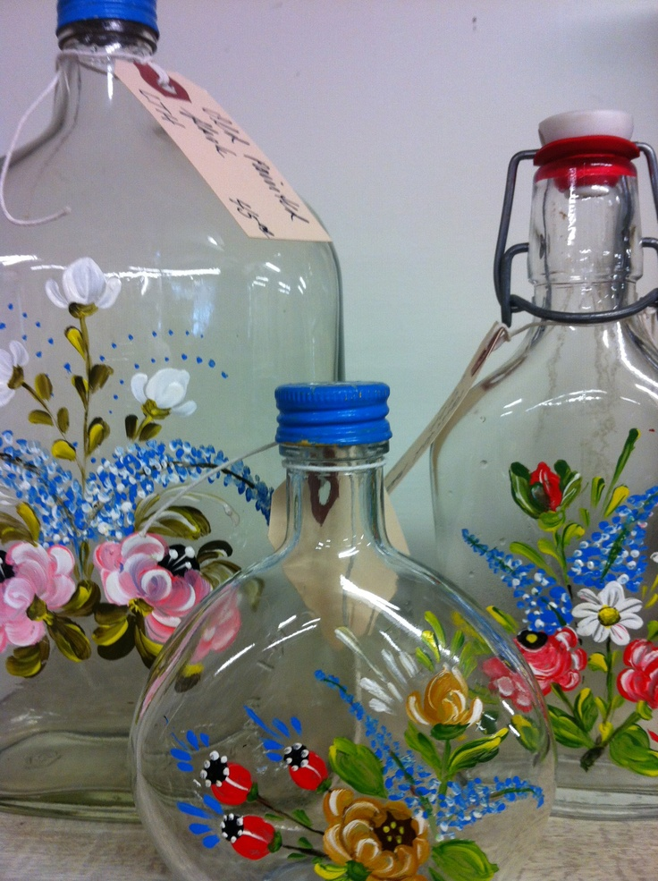 17 best images about hand painted glass bottles on for Hand painted glass bottles